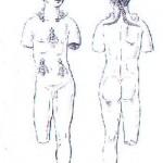 loc. Medde - Oliena (NU). Descrizione grafica di età ottocentesca del bronzetto figurato di Aristeo di età romana (II-III sec. d.C.).