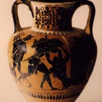 Tharros-Cabras (OR). Anfora attica raffigurante lotta di Eracle e Anteo tra Hermes e Gea. Gruppo di Leagros (520-510 a.C.).