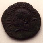 Moneta detta del Sardus Pater. Rovescio: volto della divinità eponima dell'isola con la scritta Sard(us) Pater (post 38 a.C.).